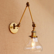 Brass Glass Ball Vintage Wall Lights Fixtures Edison Swing Long Arm Wall Light Loft Industrial Wall Lamp Wandlamp Lamparas Pared rh american country vintage wall lamp lights fixtures glass ball retro loft industrial wall sconces wandlamp arandela de parede