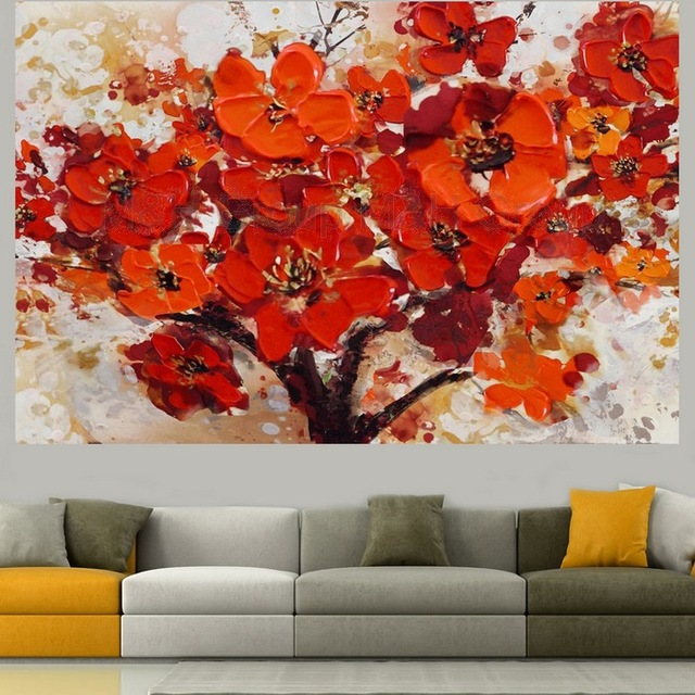 handpainted modern abstract decorative red flower oil painting on