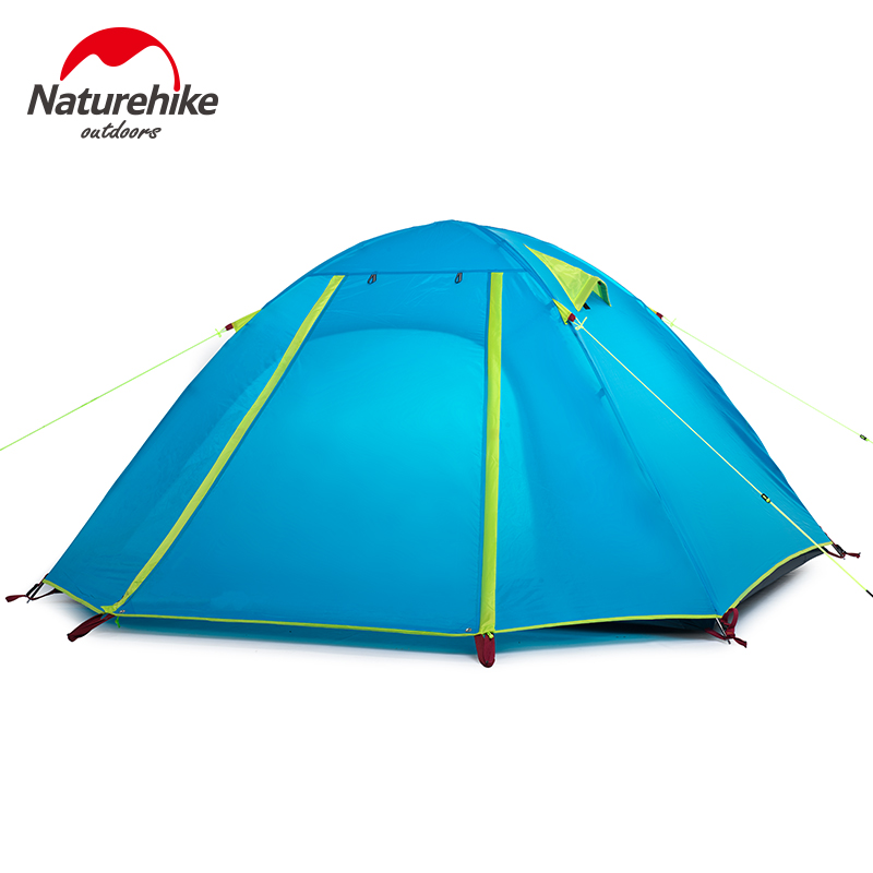 NatureHike New Arrived 4 season 210*160*115 cm Double Layer 3-4 Person Outdoor Camping Hike Travel Tent high quality outdoor 2 person camping tent double layer aluminum rod ultralight tent with snow skirt oneroad windsnow 2 plus