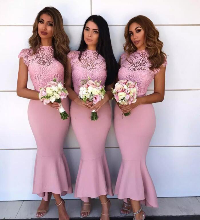 Pink   Bridesmaid     Dresses   Trumpet Capped Sleeve See through Lace Top Mermaid Maid of Honor Gowns Wedding Guest   Dresses