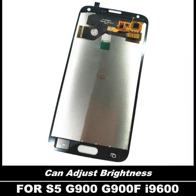 100% اختبار LCD قطع غيار سامسونج غالاكسي S5 i9600 G900 G900F G900A شاشات LCD للهواتف عرض مع مجموعة المحولات الرقمية لشاشة تعمل بلمس