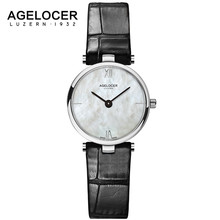 Swiss Fashion Brand AGELOCER Dress Gold Quartz Watch Women Clock Female Lady Leather Strap Wristwatch Relogio Feminino Luxury