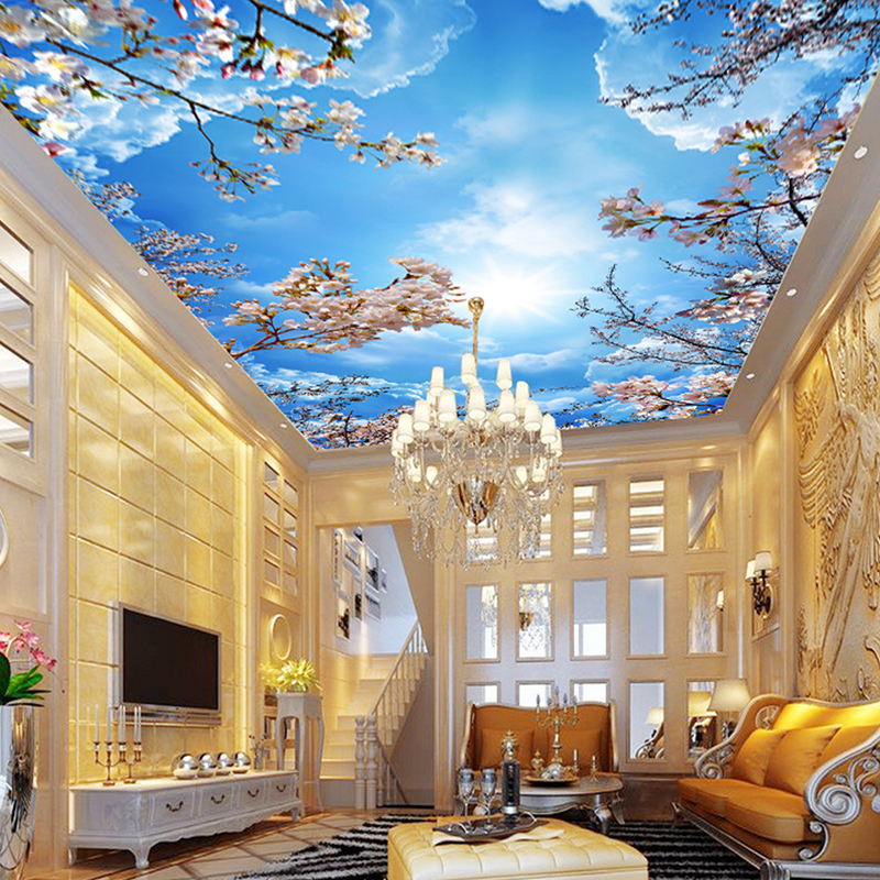 Custom Wall Mural Painting Blue Sky White Clouds Peach Blossom Ceiling Modern Designs 3D Living Room Bedroom Ceiling Wallpaper beibehang custom wall paper 3d white european carved blue sky white clouds ceiling ceiling murals background