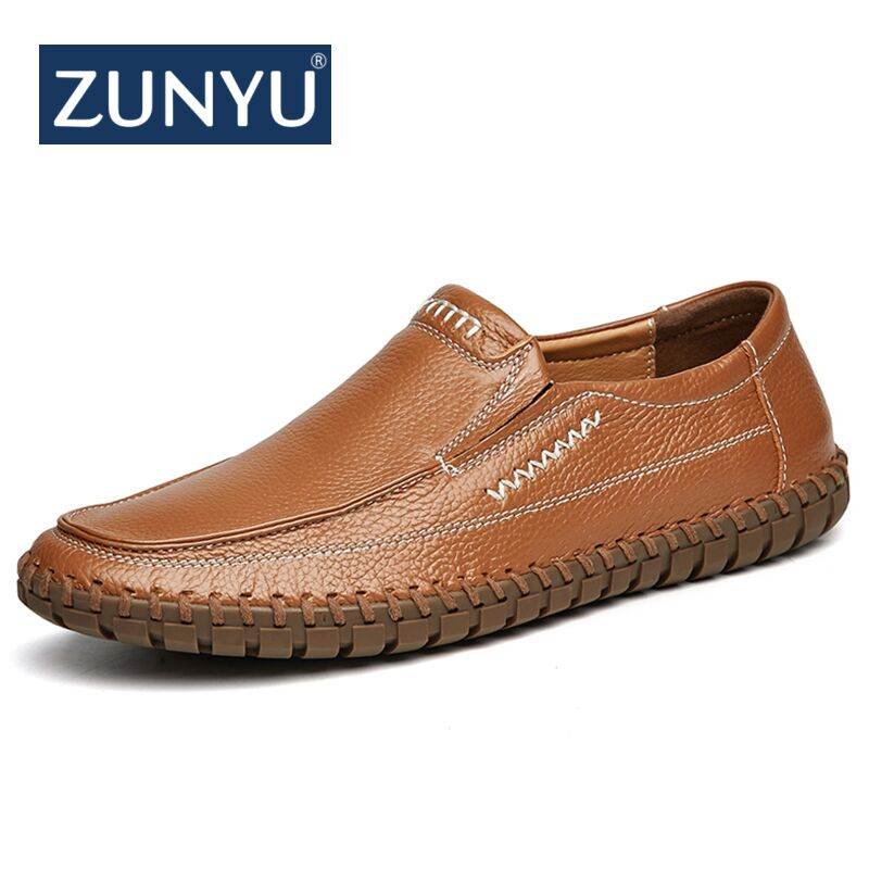 ZUNYU New Light Men Genuine Cow Leather Casual Shoes Moccasin Loafers Handmade Slip On Flat Boat Shoes Male Footwear Size 38-47 tassel casual loafers men shoes genuine leather flat anti skid driving moccasin slip on spring new black white sperry shoes male