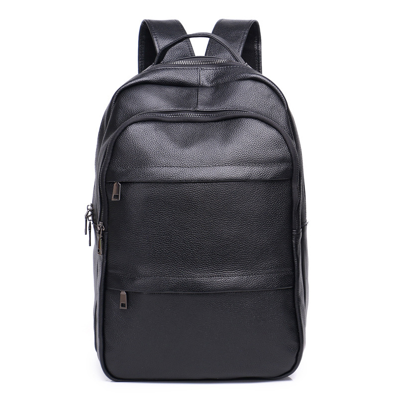 New unisex Leather Backpack Men Business Teenager Large Capacity Travel Backpack Leather Computer Bag Boy Student
