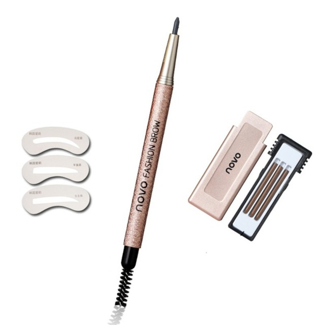 Newest Automatic Eyebrow Pencil Makeup Kit Waterproof Eyebrow Eyes Makeup Easy to Wear Durable Eyebrow With Stencils xgrj 2
