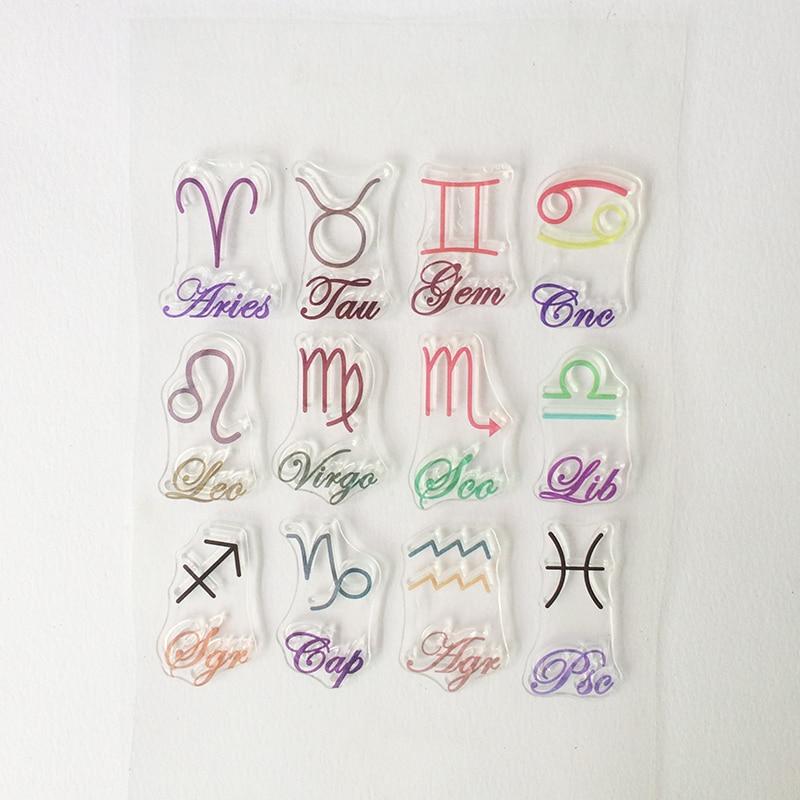 купить GTCT-0013 Vintage Scrapbooking Clear Stamps 12 zodiac signs Silicone Transparent Rubber Stamps Sheet Paper craft Album Photo DIY недорого