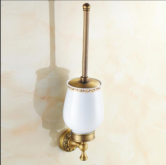 New Arrivals Toilet Brush Holder Wall Mounted Brass Toilet Cleaning Brush Antique Bath Toilet Brush Holder bathroom accessories antique brush toilet brush holder luxury carved solid brass toilet cleaning holder ceramic cup bathroom accessories