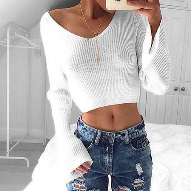 Knitted Sexy T Shirt Women Short Crop Sweater Jumper Tops Girls