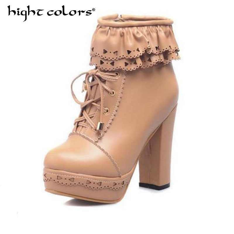 6e0f6a9a090d Volantes rosa púrpura blanco estudiantes Lolita de encaje Cosplay Lolita  dulce señora zapatos mujer tobillo botas de plataforma