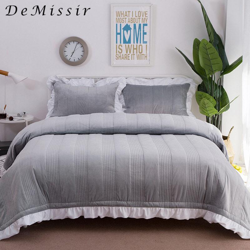 DeMissir 3PCS Set= King Bedspreads+2 Pillowcases Korean Grey Crystal Velvet Ruffle Edge Quilted Coverlets Sofa Bed Travel Throw