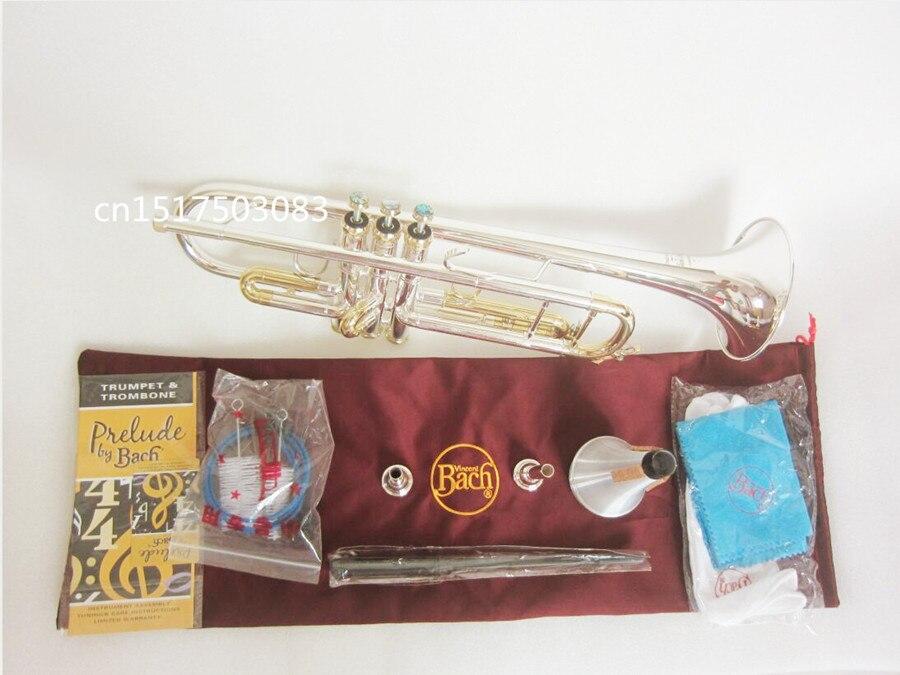 2017 trumpet NEW Bach Original Silver-plated  gold key LT190S-85 B flat professional trumpet bell Top musical instruments Brass  brand new bach brass trumpet lt190gs 77 bb silver plated gold key trompeta profissional instrumentos case mouthpiece