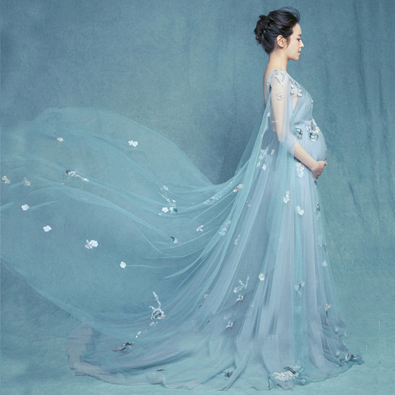 Flower  Maternity Photography Props Maxi Gown Pregnancy Dresses Maternity Dresses For Photo Shoot Clothes For Pregnant Women