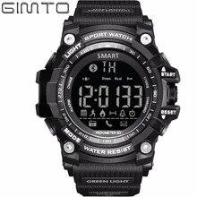 Gimto marca podómetro calorías inteligente led relojes de hombre reloj deportivo digital militar hodiny bluetooth impermeable relogio masculino