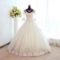 Vestidos De Noiva 2019 элегантное Пышное Бальное платье Половина рукава свадебное платье Тюль аппликации Принцесса кружевное свадебное платье