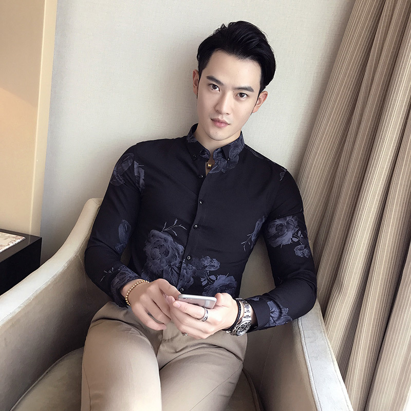 Rose Print Shirt Long Sleeve Luxury Decent Elegant Shirt Male Men Dress Shirts Business Camisa Social Masculina Floral Shirt 3xl