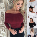 Sexy Off Shoulder Sweaters 2016 Women Basic Pullover Thin Slim Sweaters Plus Size Women Clothing