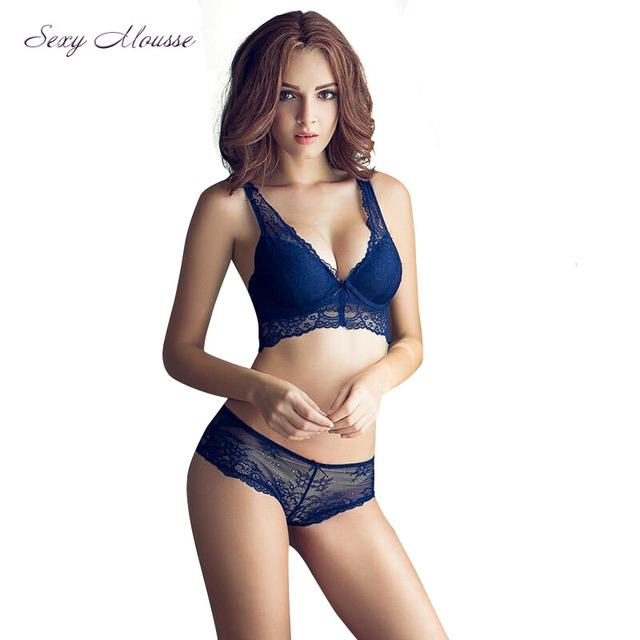 bec120d19a Sexy Mousse Women Bra Set 2016 Winter Deep V Lacy Bra Thongs Lingerie Gather  Fixed Straps