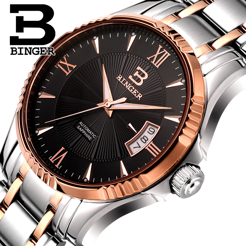 где купить Switzerland Men's Watch BINGER Watch Men Luxury Brand Men Watches Automatic Mechanical relogio masculino sapphire Wrist B5011-6 по лучшей цене