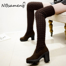 Women Boots 2016 Autumn Winter Lady Fashion Flat Bottom Boots Shoes Over The Knee Thigh High Knitting Wool Long Brand High Boots