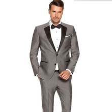 Men Suits Custom Made Men's Fashion Wedding Groom suits Tuxedos gray Business Prom dress suits(Jacket+ Pants)