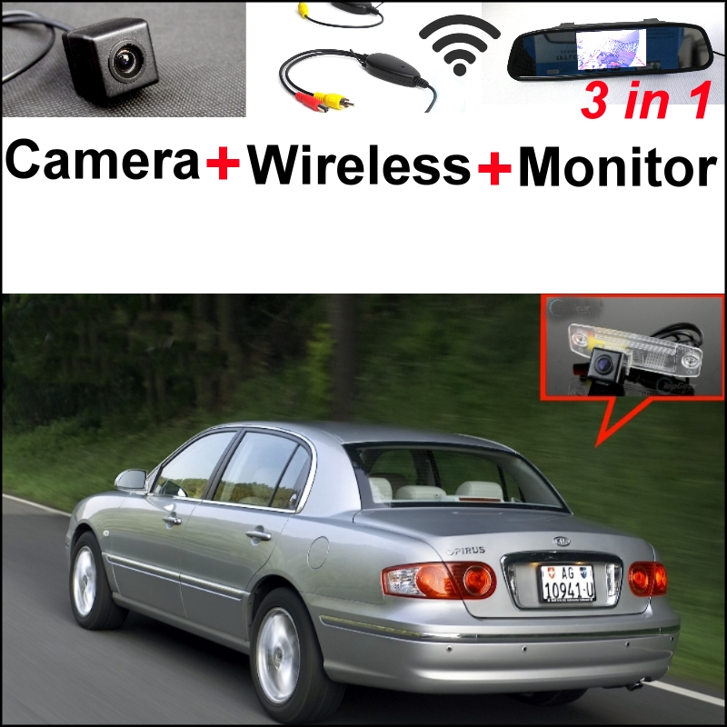 3 in1 Special Camera + Wireless Receiver + Mirror Monitor Easy DIY Back Up Parking System For KIA Opirus Amanti 2002~2011 wireless pager system 433 92mhz wireless restaurant table buzzer with monitor and watch receiver 3 display 42 call button