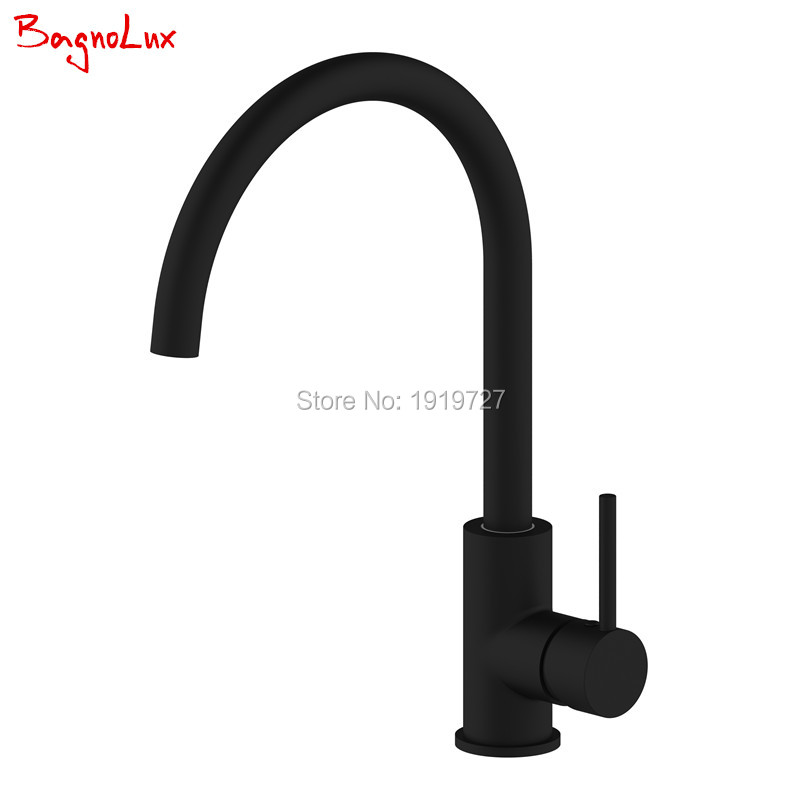 Classic 360 Swivel 100% Solid Brass Single Handle Bar / Prep Mixer Sink Tap  Hot And Cold Kitchen Faucet In Alba Matt Black free shipping 360 swivel 100% solid brass single handle mixer sink tap pull out down kitchen faucet white and chrome color kf771