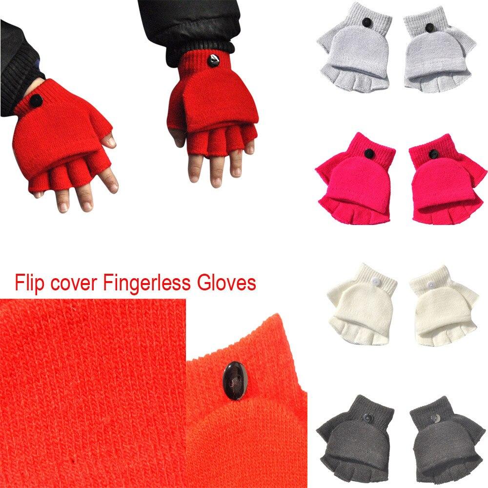 Baby Boys Girls Winter Hand Wrist Warmer Flip Cover Fingerless Gloves