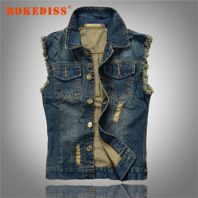 New Arrival Men's Denim Vest Brand Jeans Vest Men Cowboy Denim Sleeveless Jacket Plus Size 6XL Man Male Outwear Waistcoat G257