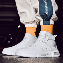 New Men Flat High Top Sneakers Fashion Breathable Boots Casual Walking Street Shoes British Hip Hop Shoes Bota Zapatillas Hombre недорого