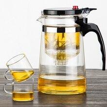 Высокое качество термостойкие Стекло Чай горшок Китайский кунг-фу Чай комплект пуэр чайник Кофе Стекло чайник удобный офис Чай горшок