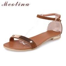 Meotina/из натуральной кожи новинка 2017 года Летние женские босоножки Ремешок на щиколотке на плоской подошве блестками Коричневые босоножки на плоской подошве Дамская обувь