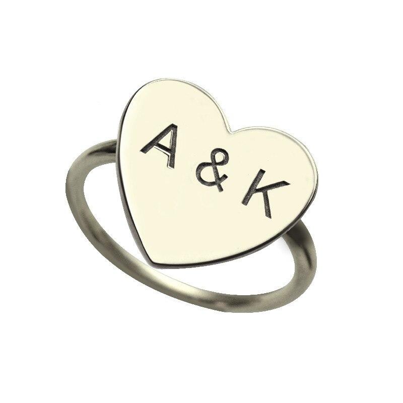 Nom personnalisé Bijoux Amour Coeur Forme Personnalisé Deux Initial Anneau Femelle Lettres Anneau Unique Cadeau Argent 925 Bijoux Bague