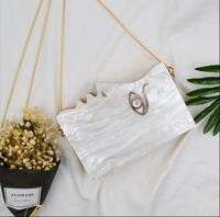 2019 unique half face acrylic women's small flap bag wooden side face clutch bag mini chian bag