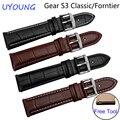 Para samsung gear s3 classic/forntier calidad del cuero genuino de correas de reloj 22mm reemplazo pulsera inteligente