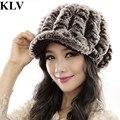 Chapéu Do Inverno Para As Mulheres de alta Qualidade Elegante Faux Rex Rabbit Fur chapéu Gorro de Pele das Mulheres De Pele Casquette Gorros Mujers Manter Aquecido Oc31