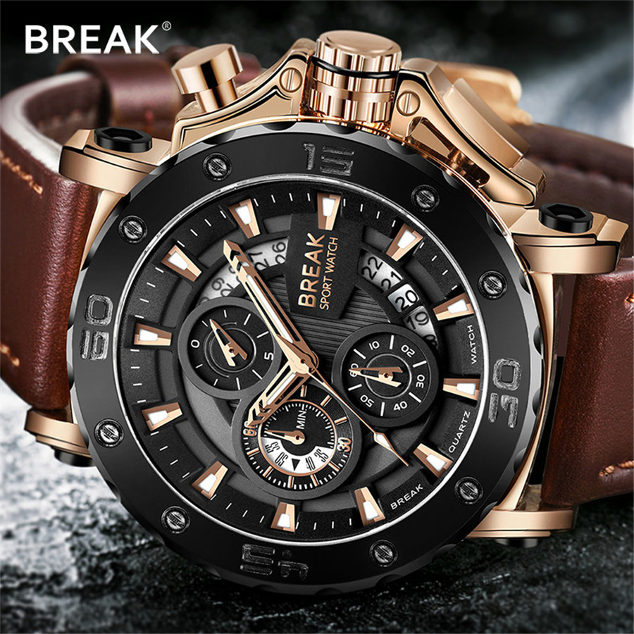 цена на Waterproof Men Watches Analog Quartz Wristwatch Chronograph Auto Date Sports Army Military Watch Male erkek kol saati 2018 NEW