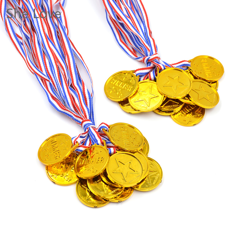 She Love 24pcs Plastic Children Gold Winners Medals Kids Game Sports Prize Awards Toys Party Favor