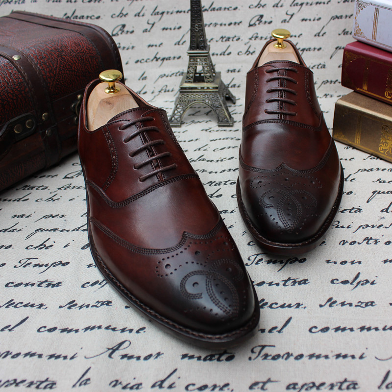 SKP66 New Custom Made Goodyear Welt Men's Calf Leather Handmade Brogue Wingtip Shoes, Men's Purple Oxford Shoes Plus Size