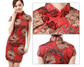 Wholesale Sexy Slim  Retro Chinese Women's Mini Party Short Sleeve Wedding Red Dress Cheongsam 5 Size 2014 Hot Sale For Chosen