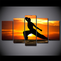 5 Piece HD Printed Playing Kung Fu Framed Wall Picture Art Poster Painting On Canvas For Living Room Cuadros Decoracion Salon