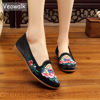 Veowalk Flowers Embroidered Women Flannel Cotton Fabric Ballet Flats Pointed Toe Ladies Casual Embroidery Shoes with Platforms