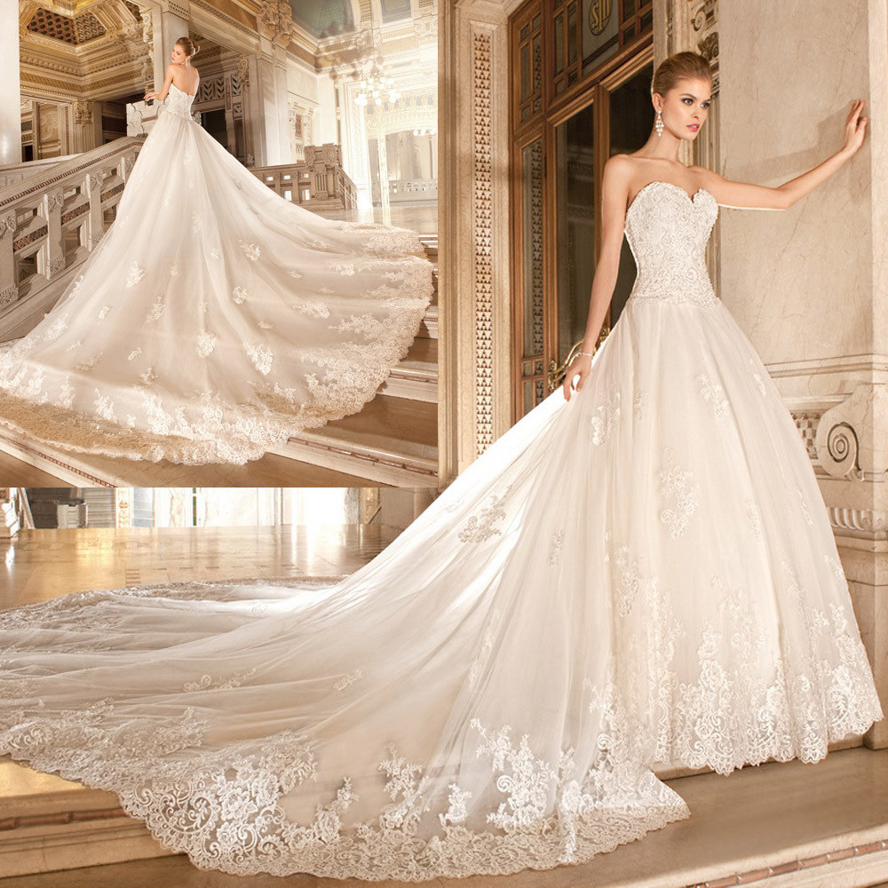 gauze strapless sweep train ball gown wedding dress with flowers ball gown wedding dress Gauze Strapless Monarch Train Ball Gown Wedding Dress with Embroidered