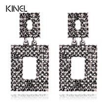 Kinel Vintage Jewelry Black Resin Earring For Women Bohemia Style Luxury Party Exaggerated Accessories