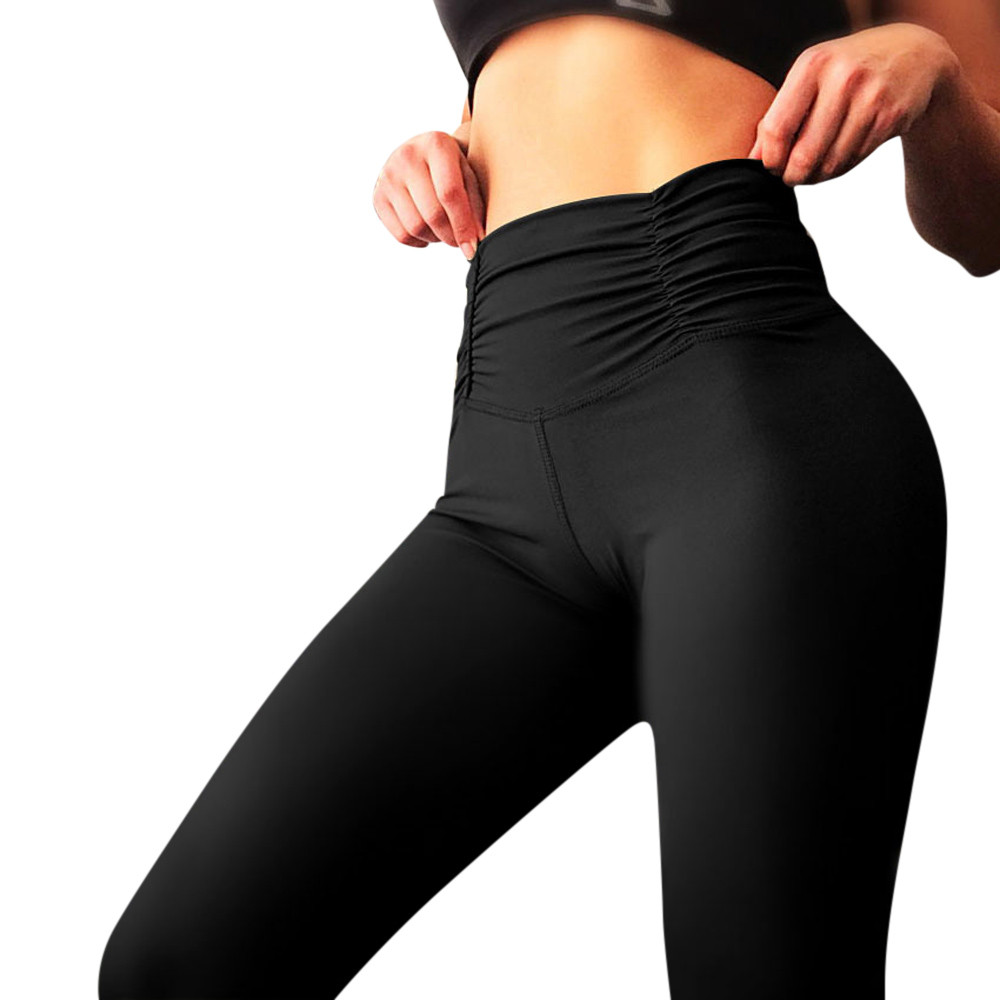 Women's Black Solid Sexy Hip Workout Leggings Fitness sports trousers flexible track Gym Running Athletic Pants Sweatpants(China)
