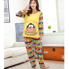 Causual Maternity Pajamas Long Sleeve Pregnant Nursing Clothes Set for Women Cartoon Pregnancy Clothing D0018
