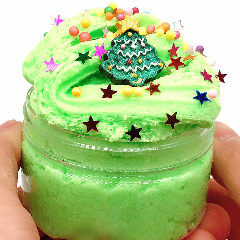 Christmas Tree Mud Fluffy Floam Slime Putty Scented Stress Clay Sludge DIY Clear Slime Toys For Christmas Gift Dropshipping