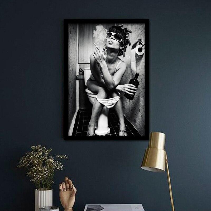 4 57 Affiche Moderne Noir Blanc Charmante Femme Fumer Art Toile Peinture Murale Pour Bar Décoration Sans Cadre Toilette Pub Photo In Peinture Et
