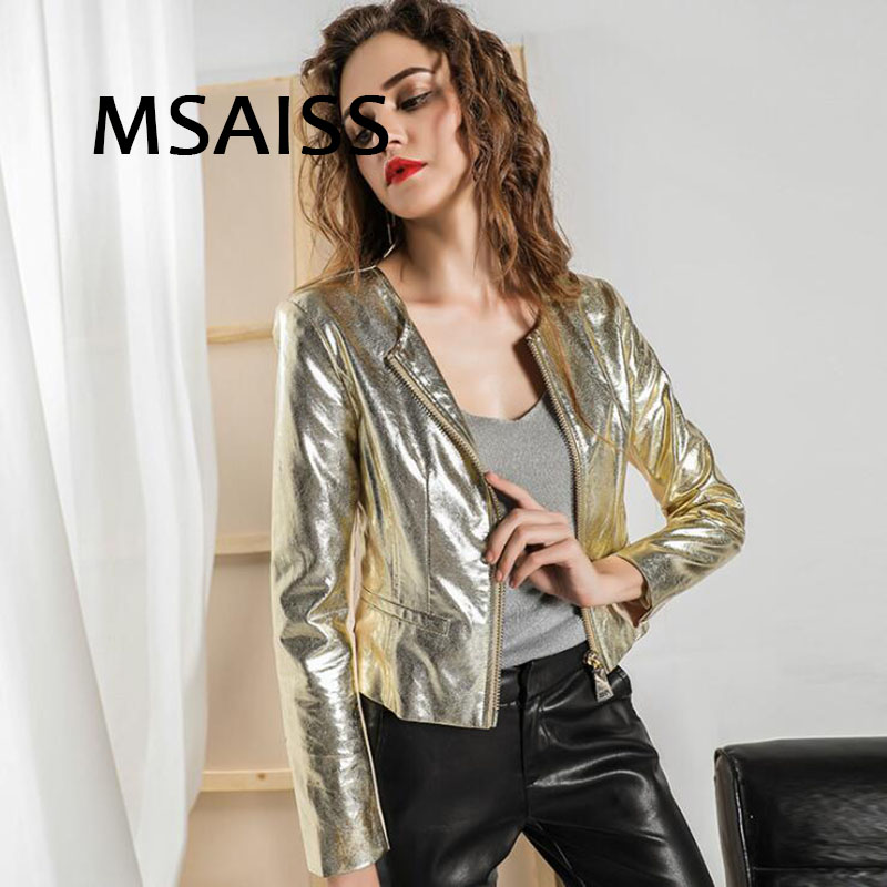 MSAISS European Fashion Gold   Leather   Jacket Women Metallic Punk Wind Spring Female   Leather   Short Coat