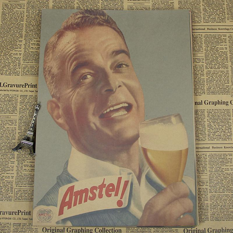 AQ-224 New arrival about beer and wine old man Retro vintage poster Kraft paper painting wall sticker art craft home decor